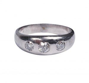Vintage Old Cut Diamond and Platinum Three Stone Ring, 1.00 carat total