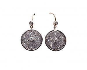 Antique Edwardian Geometric Diamond Drop Earrings