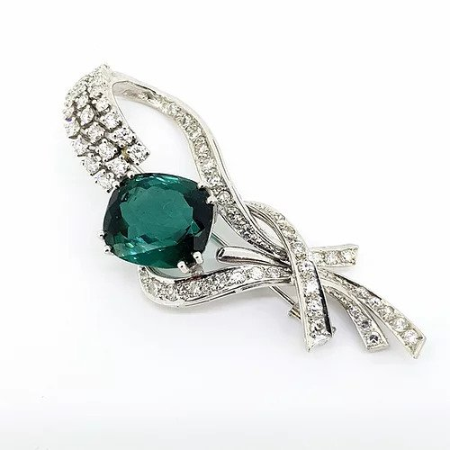 Vintage Green Tourmaline and Diamond Cluster Spray Brooch in 18ct White Gold, Circa 1950s
