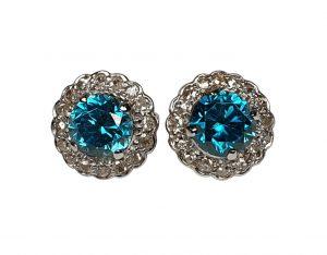 Blue Zircon and Diamond Cluster Stud Earrings, 5.00 carats