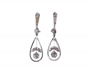 Antique Edwardian Diamond Drop Earrings, 0.60 carats