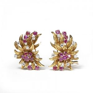 Vintage Ruby, Diamond and 18ct Yellow Gold Floral Earrings, 3.50 carats