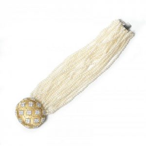 Contemporary Multi Row Pearl Bracelet with Diamond set 18ct Gold Clasp