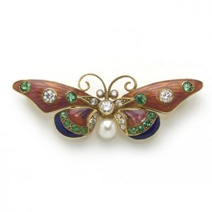 Pink and Blue Enamel Butterfly Brooch with Diamonds Emeralds Pearl