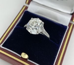 Old Mine Cushion Cut Diamond Solitaire Engagement Ring, 4.82 carats