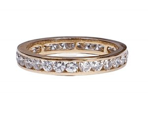 Vintage Diamond Full Eternity Band Ring in 18ct Yellow Gold, 1.00 carat
