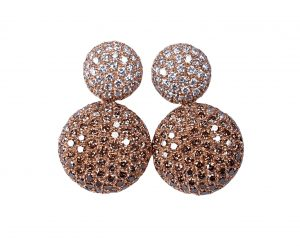 Contemporary Cognac and White Diamond Drop Earrings, 3.00 carats