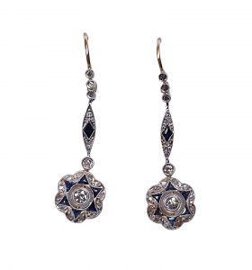 Antique Edwardian Sapphire and Diamond Star Cluster Drop Earrings