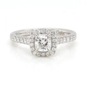 0.53ct Cushion Cut Diamond Cluster Ring in Platinum with GIA Certificate