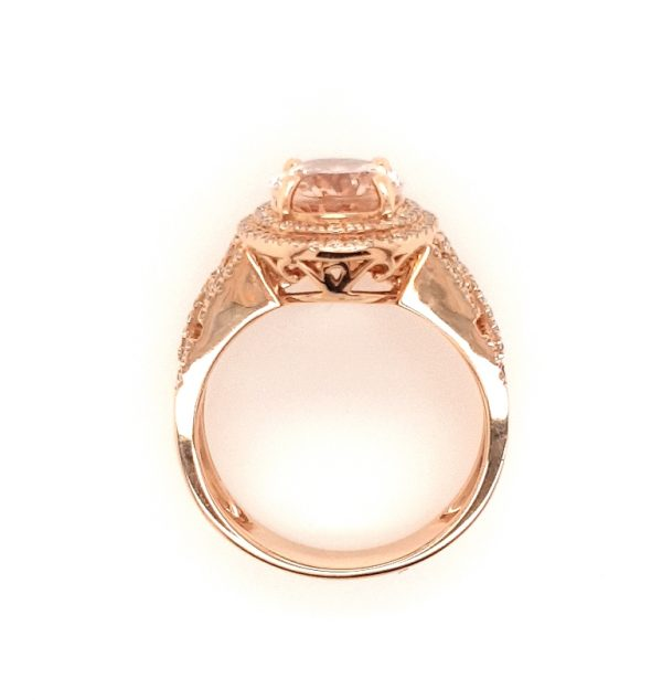 2.54ct Oval Morganite and Diamond Cluster Dress Ring in 18ct Rose Gold