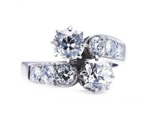Antique Old Cut Diamond Toi et Moi Two Stone Crossover Ring in Platinum
