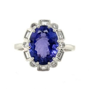 Tanzanite and Diamond Cluster Dress Ring in 18ct White Gold, 4.56 carats