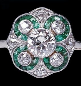 Antique Edwardian Emerald and Diamond Floral Cluster Dress Ring