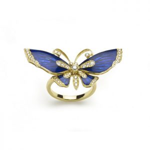 Blue Enamel and Diamond Butterfly Ring, 0.39 carats