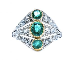 Art Deco Emerald, Diamond and Platinum Three Stone Dress Ring, 0.90cts