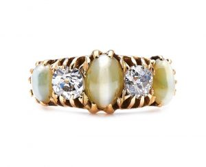 Antique Victorian Cats Eye Chrysoberyl and Diamond Five Stone Ring