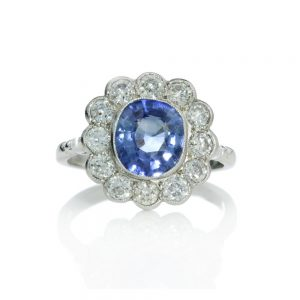 Natural Ceylon Sapphire and Diamond Floral Cluster Ring, 2.00 carats