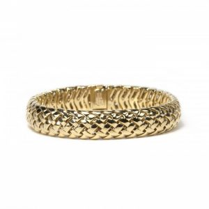 Tiffany and Co Vannerie 18ct Yellow Gold Bracelet; comprised of a domed lattice design in 18ct yellow gold, with a folding clasp. Stamped Tiffany & Co., 750, 1995