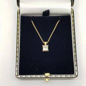 Princess Cut Diamond Single Stone Pendant, 1.00 carat, H VS1