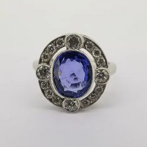 Sapphire and Diamond Oval Cluster Dress Ring in Platinum, 3.30 carats