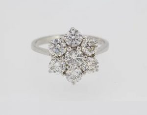 Diamond Flower Cluster Ring in 18ct White Gold, 2.50 carats