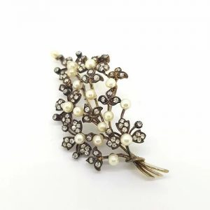 Natural Pearl and Diamond Spray Brooch in Silver on Gold, Certified