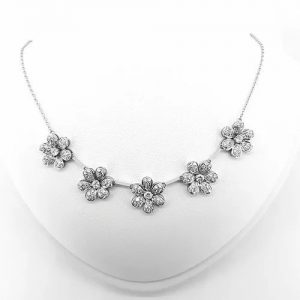 Diamond Daisy Flower Cluster Necklace, 3.75 carats