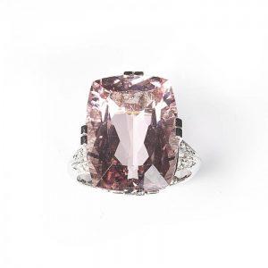 Pink Kunzite, Diamond and Platinum Dress Ring, 16.50 carats