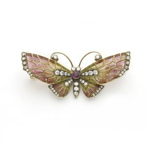 Red to Yellow Enamel and Diamond Butterfly Brooch