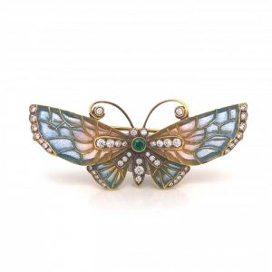 Blue and Pink Enamel Butterfly Brooch with Diamonds and Emerald