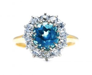 Antique Rare Teal Montana Sapphire and Diamond Cluster Ring, 2.40cts