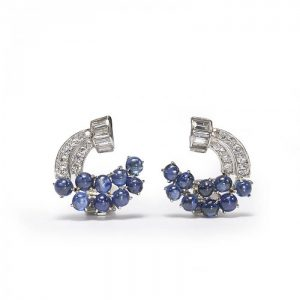 Vintage Sapphire, Diamond and Platinum Earrings, 5.00 carats