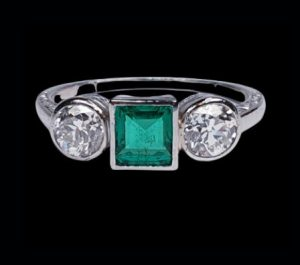 Princess Cut Colombian Emerald and Diamond Three Stone Ring, 0.50cts