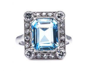 Belle Epoque 4.50ct Emerald Cut Aquamarine and Diamond Cluster Ring