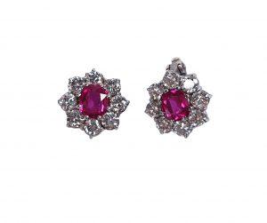 Burmese Ruby and Diamond Flower Cluster Stud Earrings, 1.20 carats