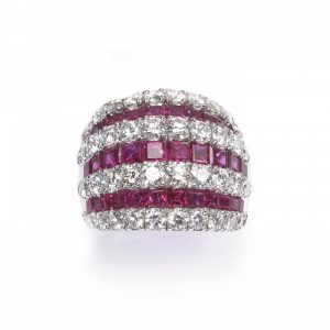 Contemporary Ruby and Diamond Bombe Cocktail Ring