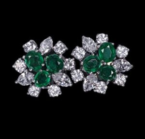 Vintage Emerald and Marquise Diamond Cluster Stud Earrings, Circa 1950