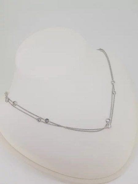 Diamond Set Long 18ct White Gold Chain Necklace; 2.72 carat total, 18ct white gold chain set with differing sized collet-set brilliant-cut diamonds