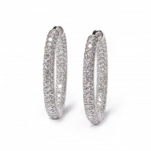 Diamond Oval Hoop Earrings in 18ct White Gold, 7.60 carats