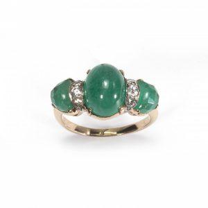 Vintage Cabochon Emerald and Diamond Three Stone Ring, Circa 1950s
