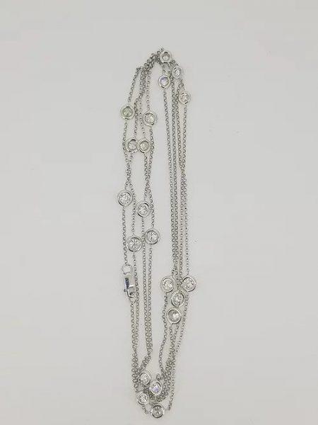 Diamond Set Long 18ct White Gold Chain Necklace; 2.72 carats, 96cm long