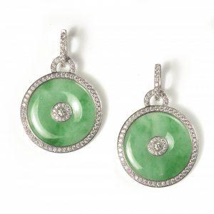 Jade and Diamond Cluster Drop Earrings, 4.50 carats