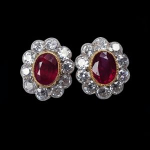 Ruby and Diamond Oval Cluster Stud Earrings in 18ct Gold, 1.60 carats