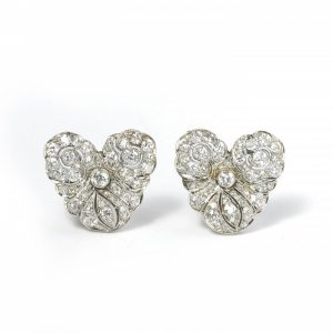 Vintage Old Cut Diamond Cluster Earrings in Platinum, 4.00 carats