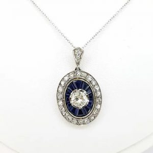 Sapphire and Diamond Oval Cluster Pendant on Diamond Set Chain
