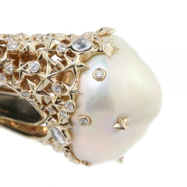 Bibi Van Der Velden Pearl Moonstone Diamond Starry Night Ring in 18ct Yellow Gold