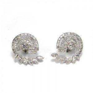 Vintage 1950s Diamond Earrings in Platinum, 6.75 carats