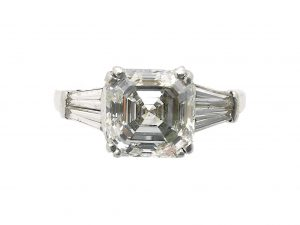 1.80ct Asscher Cut Diamond Ring with Tapered Baguette Shoulders
