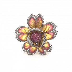 Plique-a-Jour Enamel, Ruby and Diamond Flower Brooch
