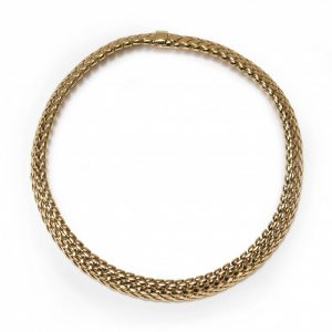 Tiffany and Co Vannerie 18ct Yellow Gold Necklace; comprised of a domed lattice design, with a folding clasp, Signed, Circa 1995